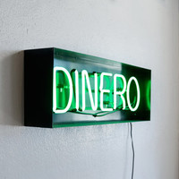 "Neon ""Dinero"" Sign, Upcycled in Handmade Steel Frame"