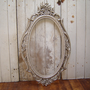 Large Oval Mirror Ornate Satin Nickel French by WendysVintageShop