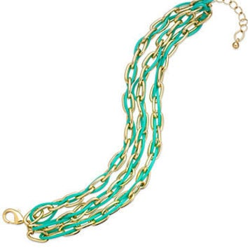 Bar III Gold-Tone Mint Multi-Row Chain Bracelet