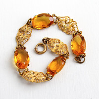 Antique Citrine Orange Glass Stone Filigree Bracelet - Vintage 1930s Gold Tone on Brass Art Deco Link Panel Jewelry