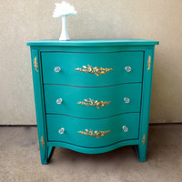 SOLD - Turquoise and Gold End Table/Nightstand with Glass Knobs