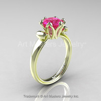 Modern Antique 14K Green Gold 1.5 Carat Pink Sapphire Solitaire Engagement Ring AR127-14KGRGPS