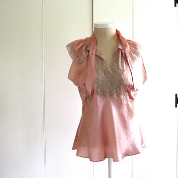 30's Vintage Peachy  Silk Satin Blouse or Lounging Garment  or Lingerie Top