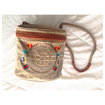 Vintage Gucci 1980s Resort Nautical Canvas Bag