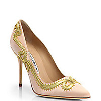 Manolo Blahnik - Leather Scroll Satin Pumps - Saks Fifth Avenue Mobile