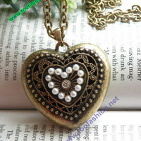 Pretty retro copper white crystals hollow heart by toofashion2010