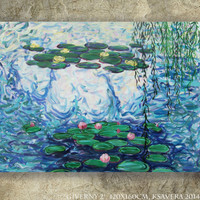 "Original Acrylic painting Claude Monet's Water Lilies ""Giverny 2"" Huge wall art on canvas by KSAVERA decor for Lounge sleeping room bedroom"