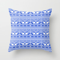 Elephant Tribal Blue Throw Pillow by Jacqueline Maldonado