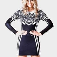Black/ White Detailed Long Sleeve Mini Dress