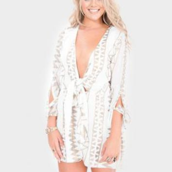 White and Gold Sequin Detail Playsuit