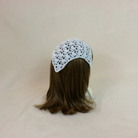 White Hair Bandana Kerchief Crochet Head Scarf Silver Rockabilly Cover Tie Lace Triangle Headband Band Head Scarf