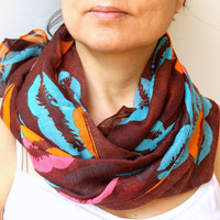 Lip Scarf Kiss Scarf Bohemian Fabric Soft Cotton Scarf Coffee Brown Turquoise Aqua Blue Scarf  Beach Wrap Pareo Sarong Summer Scarf