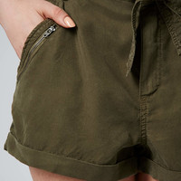 Tie Front Zipped Shorts - Khaki
