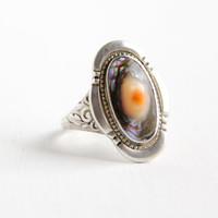 Antique Sterling Silver Blister Pearl Ring - Vintage Floral Art Deco 1940s Size 8 1/4 Colorful Jewelry