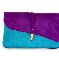 Purple &amp; Teal Suede Clutch by R.pellicer on Etsy