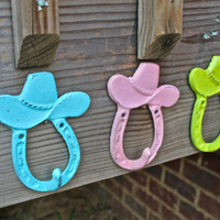 Set of THREE Cowboy/girl Hat wall Hooks: Customize your Colors by AquaXpressions on Etsy