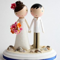 custom beach wedding cake topper by lollipopworkshop on Etsy