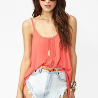 Pretty Pleats Tank in Coral
