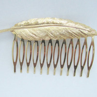 Bride Hair Comb One Leaf Gold Plated Hair Comb by FalseAngel