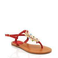 embellished t-strap sandals $17.60 in NATURAL RED - Sandals | GoJane.com
