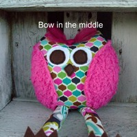 Whimsical Owl, Soft Stuffed Animal, Toy Plush Rattle, Kids Party Favors, Baby Shower Gift