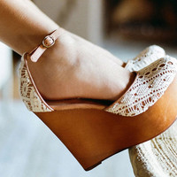 Bette Platform Wedge in Ivory