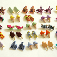 $15.00 Summer Studs 5 Pairs by RingsOfSaturn on Etsy