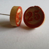 Retro Wooden Bingo Piece Earrings by TheHipsterHideout on Etsy