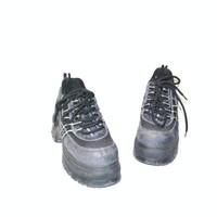 mega platform sneakers / dusty blue Transit 80s 90s club kid platforms runners hikers