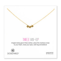 NEW three wishes triple star necklace, gold dipped, 18 inch