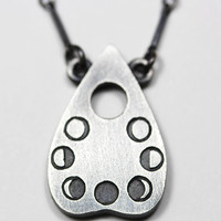 Petite Lunar Oracle Planchette. Sterling Silver Necklace. – Blood Milk Jewels