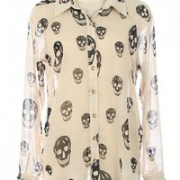 CHIC BUTTON DOWN CHIFFON SHIRT WITH SKULL PRINTS-Casual Tops-Casual Tops,Cute Casual Tops,trendy casual tops,Women's Casual Tops,Ladies Casual Tops,long casual tops,casual knit top