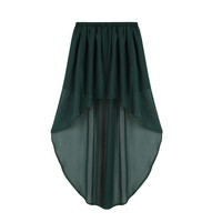 Green Mini Skirt - Green Mullet High Low Hem | UsTrendy