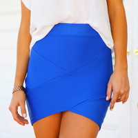 ENVY SKIRT (BLUE) - Cobalt blue bandage skirt