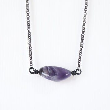 Big Tumbled Amethyst Necklace, Horizontal Wire Wrapped Dark Purple Gemstone, Unisex Amethyst Jewelry