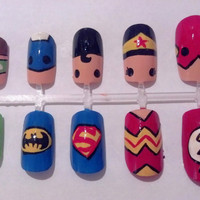 Justice League Nail Art by MaryMars on Etsy