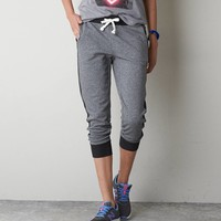 AEO Tuxedo Striped Fleece Jogger, Dark Heather Grey | American Eagle Outfitters