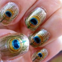Oshun Nail Decals River Orisha of Love Peacock by chachacovers