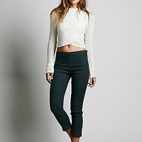 Free People Womens Yard Check Hi Rise Crop - Black /