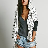 Free People Womens Stripe Hoodie - White / Black Combo,