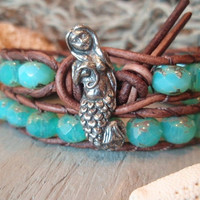 Mermaid leather wrap bracelet Tahitian Mermaid by slashKnots