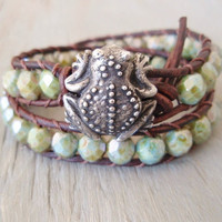 Frog leather wrap bracelet Feelin' Froggy distressed by slashKnots