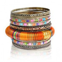 Intricate Colorful Stacking Bangle Bracelet Set
