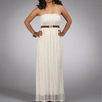 Ivory Lace Belted Maxi Dress
