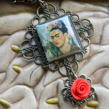 Frida Kahlo necklace by LindaMunequita on Etsy