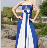 A-Line V-neck A-Line Strapless Floor Length Silk Chiffon Evening Dress(EDA30083) [EDA30083] - &amp;#36;135.10 :