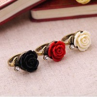 Vintage Rose Cocktail Flower Ring at Online Jewelry Store Gofavor