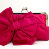 All About a Bow Clutch Purse Fuchsia by DavieandChiyo on Etsy