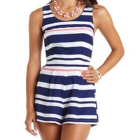 NAUTICAL STRIPED OPEN BACK ROMPER