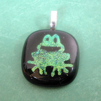 Green Frog Pendant, Toad Pendant, Omega Slide, Dichroic Jewelry - Little Prince - 3664 -1